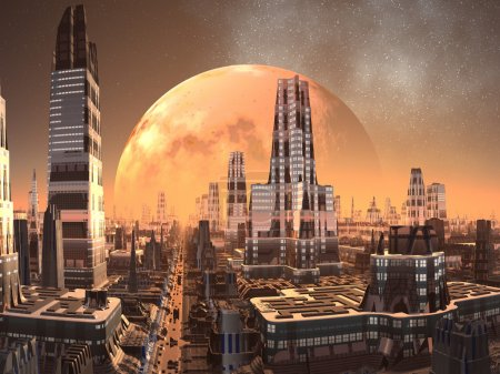 Photo for A huge rocky planet dominates the golden skyline above the complex metropolis of tomorrow somewhere on an alien world. - Royalty Free Image