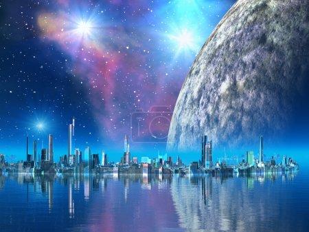 Photo pour Des villes futuristes parfaites construites dans les mers tranquilles sur un monde étranger. En orbite derrière se trouve une énorme lune entourée d'étoiles brillantes en diamant . - image libre de droit