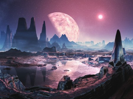 Photo pour Iridium de la planète est riche en minerai précieux qui donne naissance à son nom. les formations rocheuses brillent avec des couleurs irisées à la lueur du soleil pourpre et de la lune au-dessus - image libre de droit