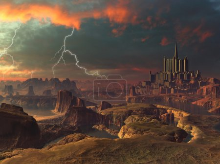 Photo for Storm clouds and lightning bolts fill the sky above an ancient city set in an alien landscape - Royalty Free Image