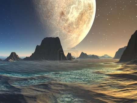 Sunset over Alien Beach at Moonrise