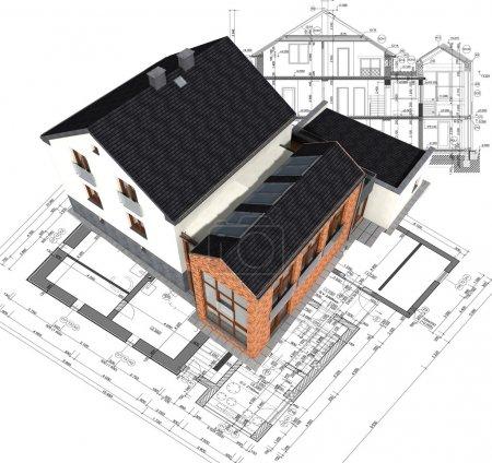 Foto de Arquitectura casa modelo en plan - Imagen libre de derechos