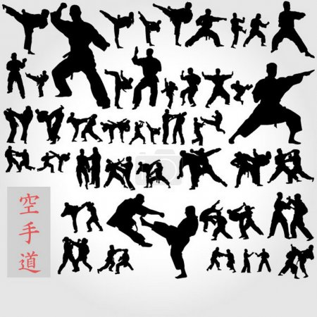 Set of karate poses