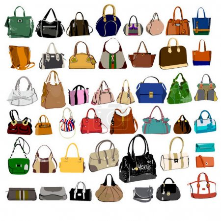 Set of fashion bags and purses
