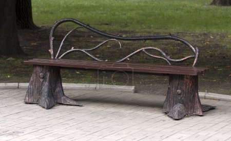 Metal forged bench in authem park