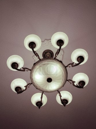 Bronze chandelier with 8 lights view from below