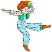 Vector figures a dancing little boy in eastern costume