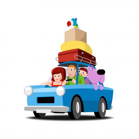 The family goes on vacation by car, illustration o...