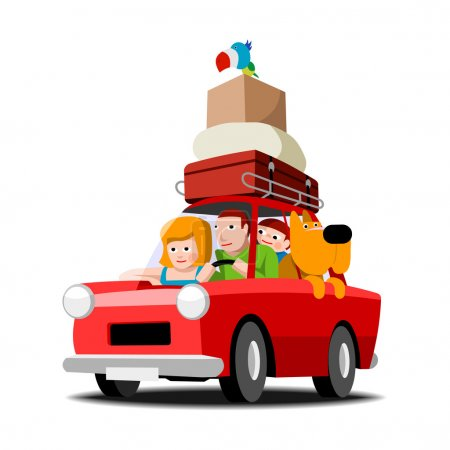Illustration for The family goes on holiday red car, family with pets, vector cartoon illustration on white - Royalty Free Image