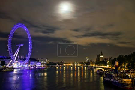 Photo for Night shot of the London Eye, Big Ben and Victoria Embankment. It's the iconic london landscape and the main tourist attractions. - Royalty Free Image