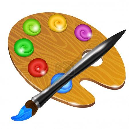 Illustration for Art palette with brush. Vector illustration - Royalty Free Image