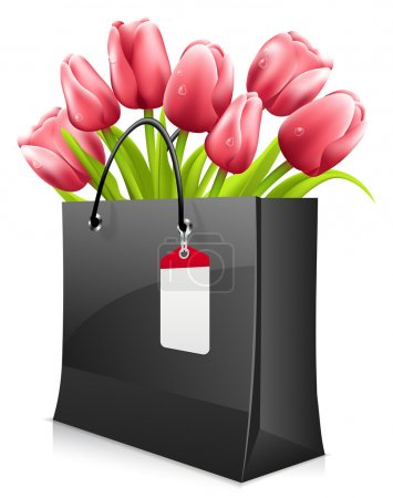 Illustration for Tulips in shopping bag isolated on white - Royalty Free Image