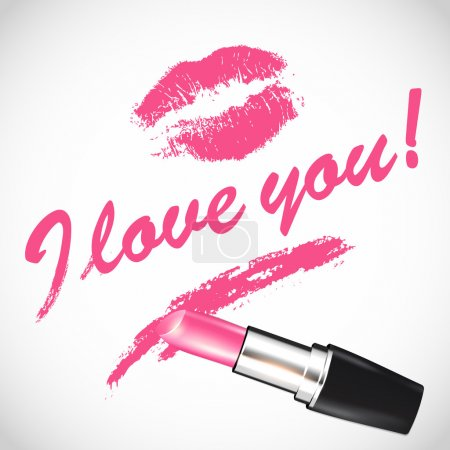 Illustration for Vector pink lipstick; space for your text - Royalty Free Image