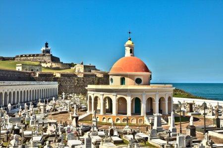 San Juan Cemetery with El Morro Fortress
