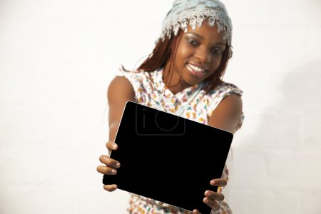 African Woman Holding a Blank black Sign