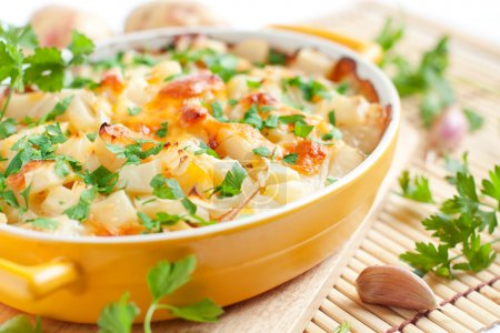 baked potato with cheese - flavored pudding