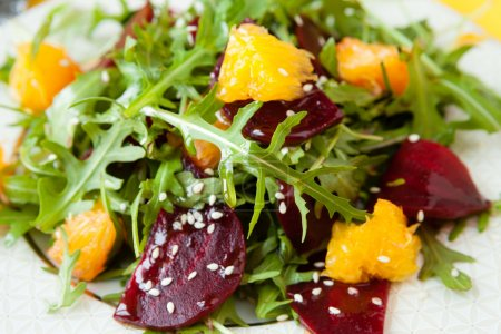 Photo for Fresh salad with beets and oranges, closeup - Royalty Free Image