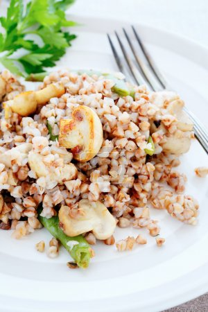 Crumbly buckwheat with mushrooms