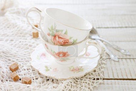 two vintage porcelain cups
