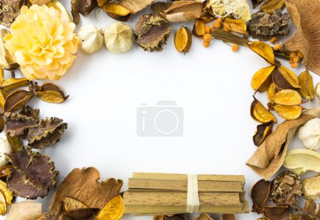 Photo for Dried flowers frame with white space for any wording - Royalty Free Image