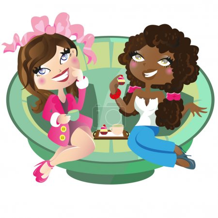Illustration for This file represents two women, problably friends, that are having tea. The illustration could also be used against racism. Transparency used in the couch. Gradient used. - Royalty Free Image