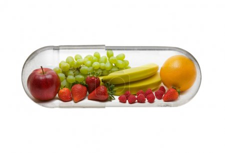 Photo for Different fruit in capsule - healthy diet concept - Royalty Free Image