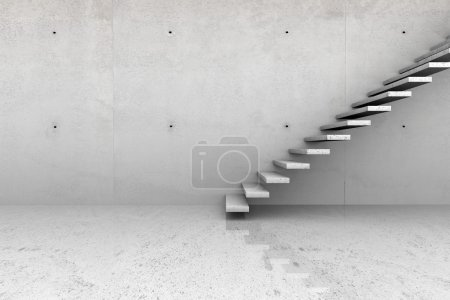 Photo for Modern concrete empty room with stone stairs - Royalty Free Image