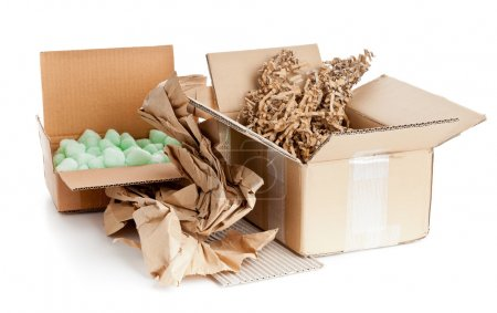 Photo for Heap of recyclable packaging materials - cardboard, paper, cornstarch pellets - Royalty Free Image