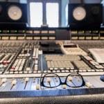 Glasses on the mixer at recording studio...