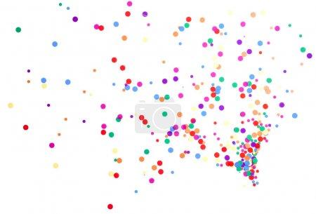 Photo pour Confettis ronds colorés renversés sur blanc - image libre de droit