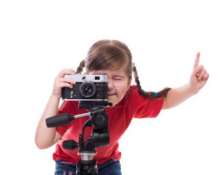 Foto de Fotógrafo poco con viejo Bielsa antigua cámara para tomar una foto - Imagen libre de derechos