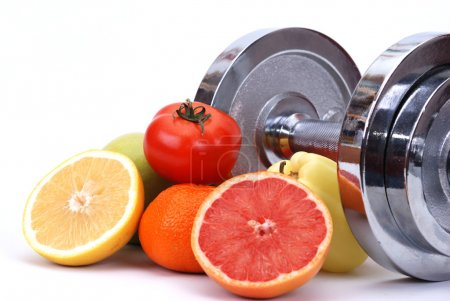 Photo for Assorted fresh fruits and vegetables , fitness concept - Royalty Free Image