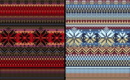 Pattern Nordic Folk Knitted Ornamental Multiclor Striped Background