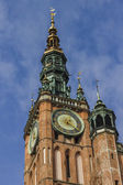 Main Town Hall clock tower in the Old Town of Gdansk in Poland.