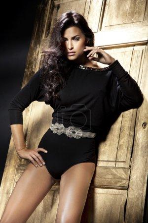 Romantic style photo of beautiful brunette lady