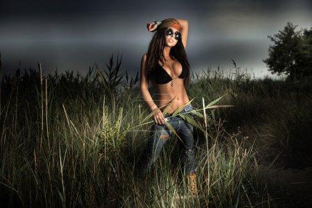 Young bohemian brunette posing.