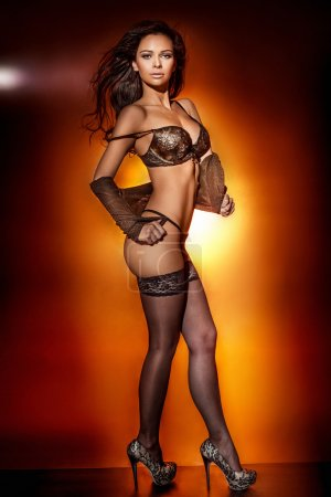 Sexy photo of beautiful brunette lady.