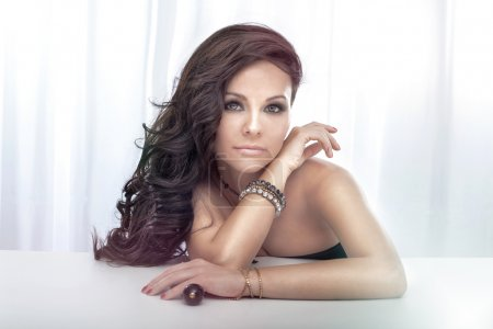 Portrait of gorgeous brunette lady posing.