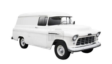 Vintage White Delivery Van on White