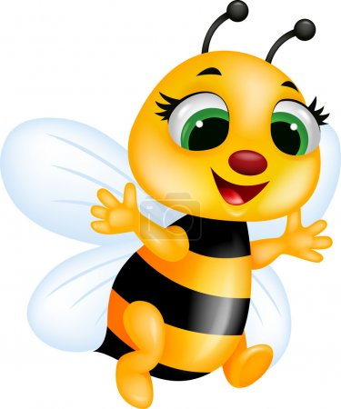 Photo pour Drôle de dessin animé abeille - image libre de droit