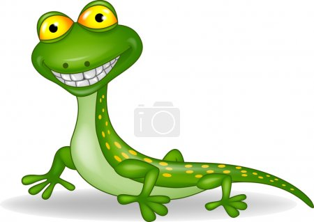 Funny green lizard cartoon
