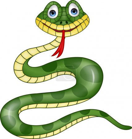 Illustration pour Drôle de dessin animé serpent - image libre de droit