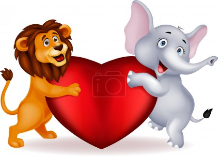 Lion and elephant embracing red heart