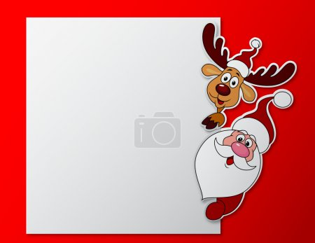 Santa clause and deer cartoon with blank sign