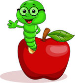 Vector illustration of Worm and apple cartoon
