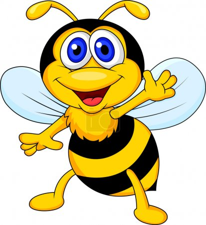 Illustration for Vector illustration of Cute bee cartoon waving - Royalty Free Image