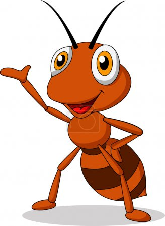 Illustration for Vector illustration of Cute ant cartoon waving - Royalty Free Image