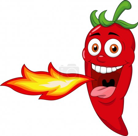 Photo for Vector illustration of Chili Cartoon Character Breathing Fire - Royalty Free Image