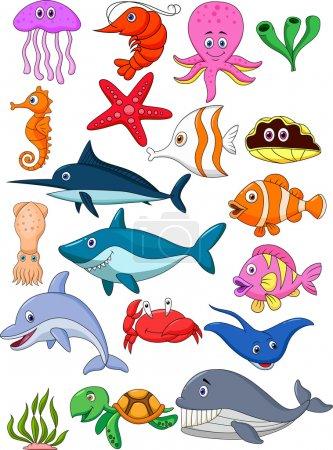 Photo for Vector illustration of Sea life cartoon set - Royalty Free Image