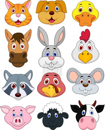 Photo for Illustranion of animal head cartoon collection isoleted on white - Royalty Free Image